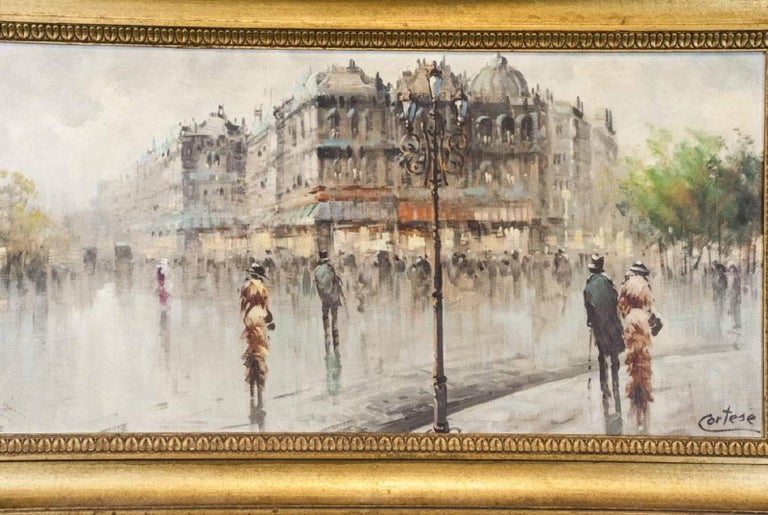 Hand-Painted Oil on Canvas Paris Street Scene For Sale