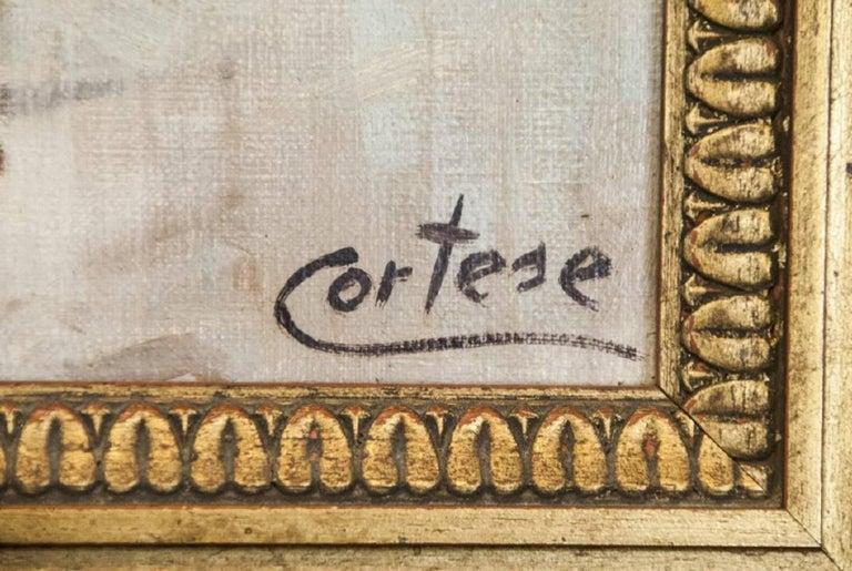 Mid-20th Century Oil on Canvas Paris Street Scene For Sale