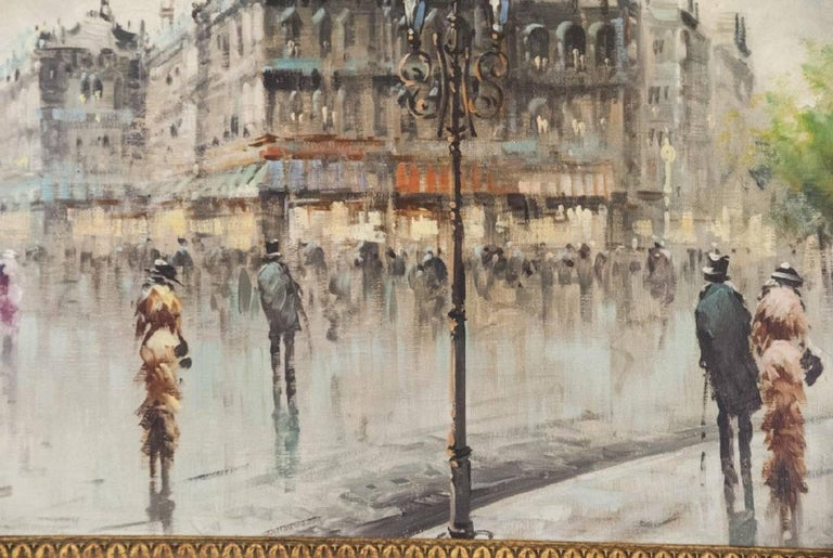 Oil on Canvas Paris Street Scene In Good Condition For Sale In Great Barrington, MA