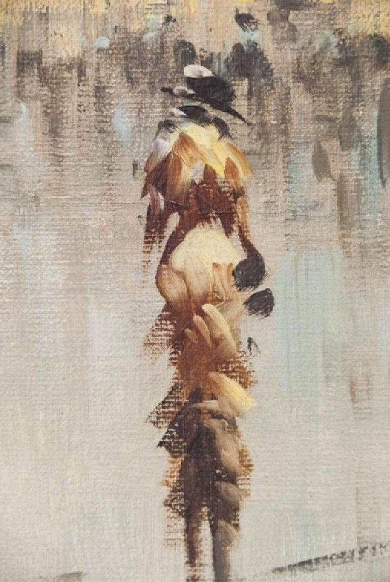 Oil on Canvas Paris Street Scene For Sale 1