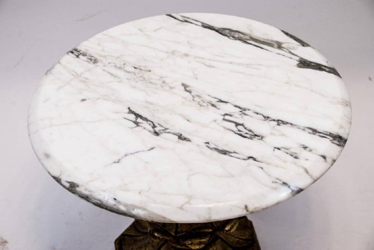 Spanish Vintage Round Accent Table with Marble Top and Giltwood Base For Sale