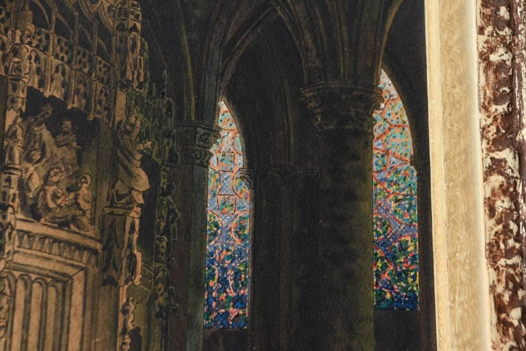 19th Century Watercolor of a Cathedral For Sale 1