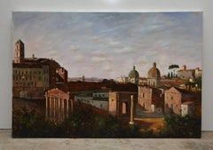 Vintage Oil on canvas Painting by F. Tailroy of Italian Landscape