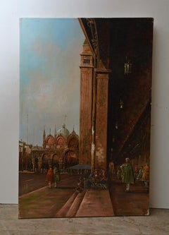 Vintage Oil-on-Canvas Painting of Piazza San Marco, Venice