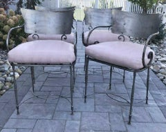4 Mid-Century Brushed Metal Modernist Garden Arm Chairs