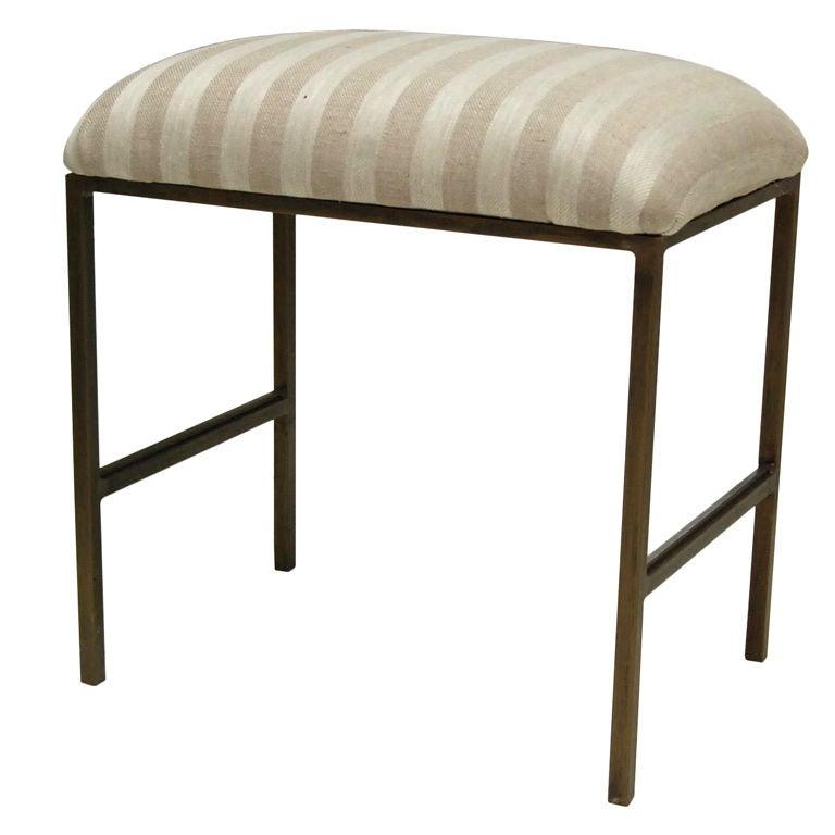 Custom Upholstered Metal Vanity Bench