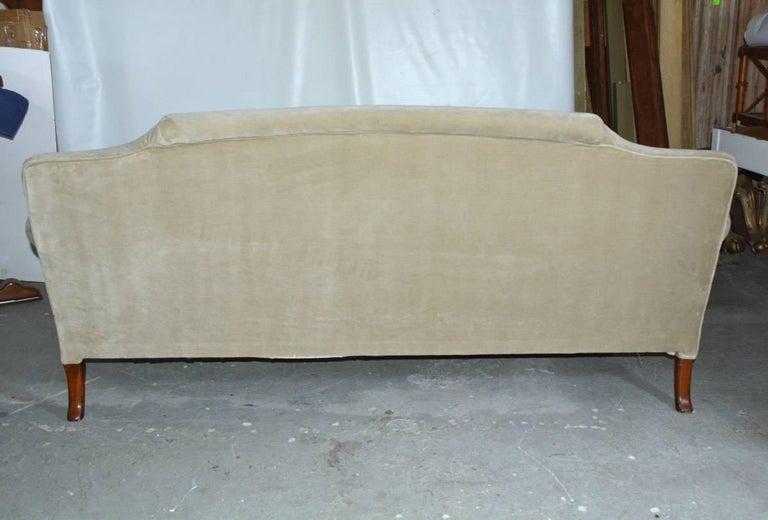 American Mid-20th Century Regency Style Velvet Sofa For Sale