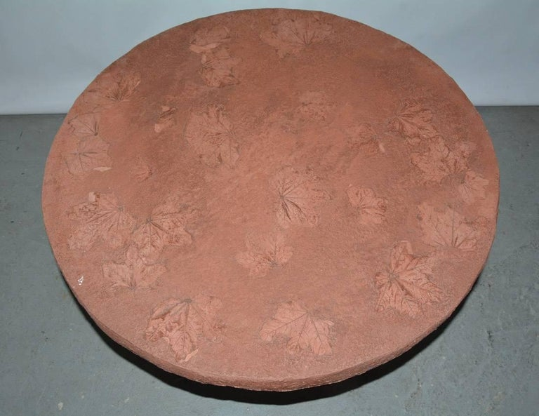European Round Cast Stone Top Metal Base Coffee Table For Sale