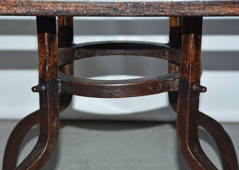 Iron Round Cast Stone Top Metal Base Coffee Table For Sale