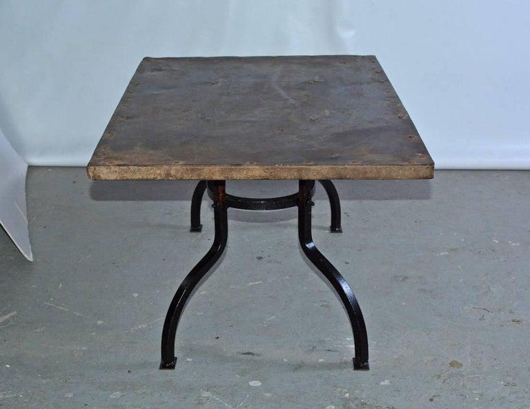 Rustic Cast Iron Metal Top Indoor or Outdoor Garden Coffee Table For Sale