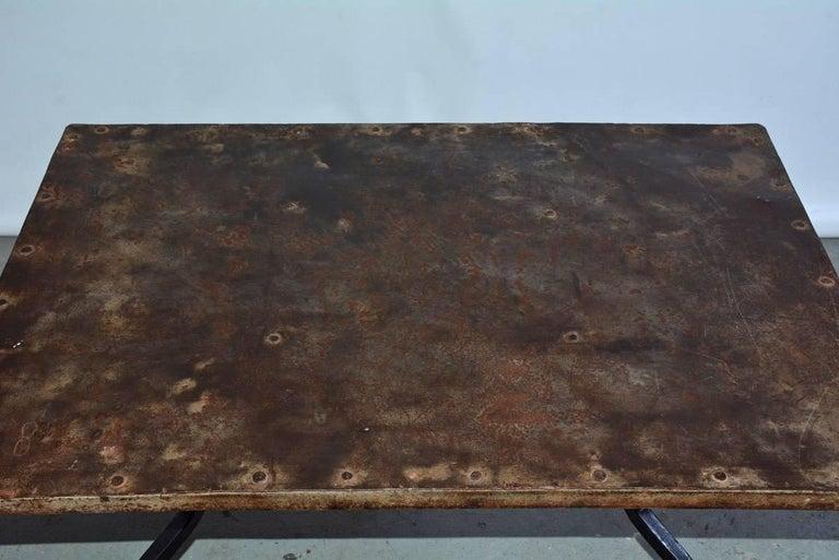 European Cast Iron Metal Top Indoor or Outdoor Garden Coffee Table For Sale
