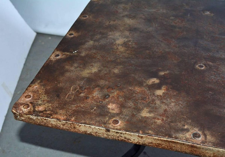 Cast Iron Metal Top Indoor or Outdoor Garden Coffee Table In Distressed Condition For Sale In Great Barrington, MA