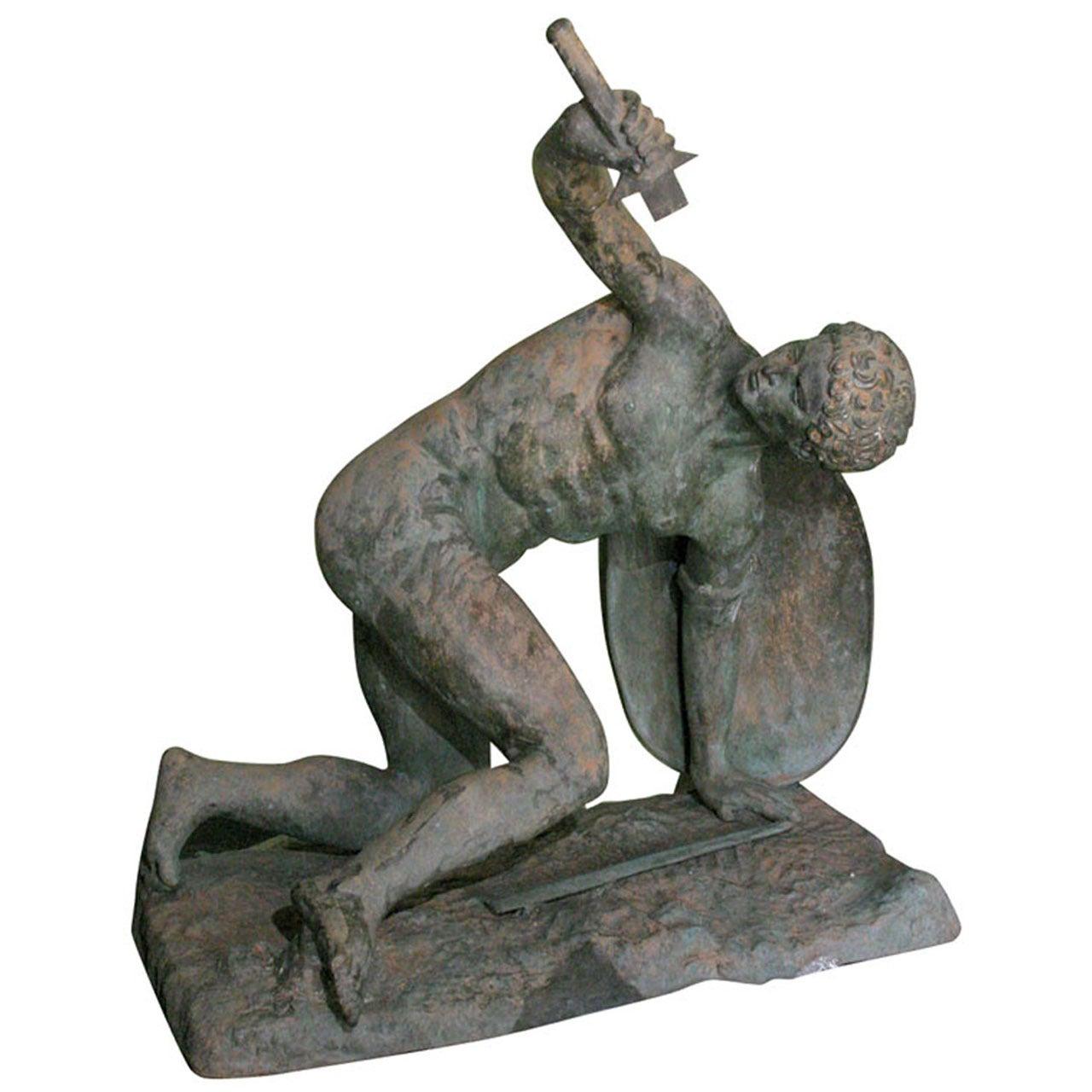 Large Classical Roman Male Nude Warrior Bronze Sculpture