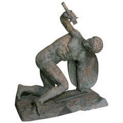 Large Classical Roman Male Nude Warrior Bronze Sculpture