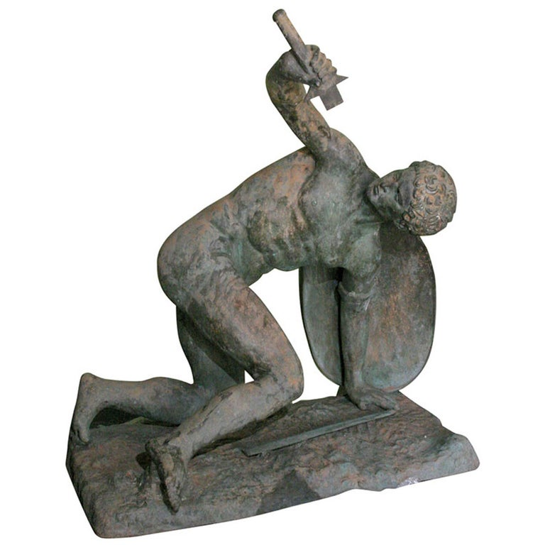 Large Classical Roman Male Nude Warrior Bronze Sculpture For Sale