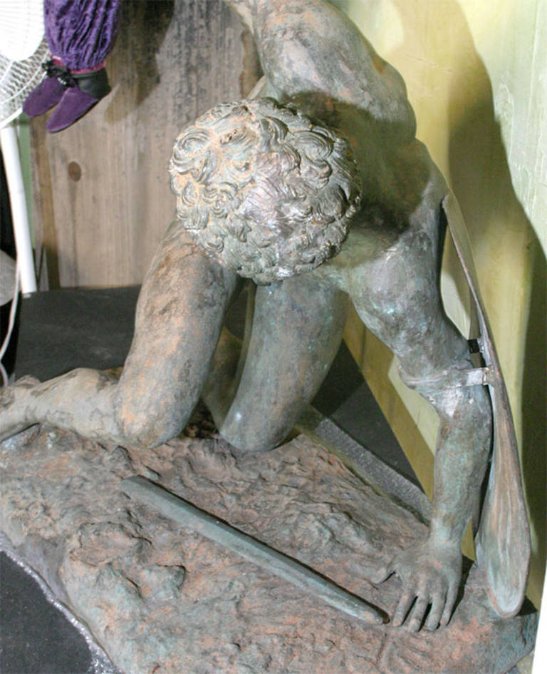 Near 3/4 lifesize, 19th century, possibly earlier cast bronze sculpture in the style of a Roman copy of a Classical Greek statue. It would make a wonderful garden sculpture or outdoor statue.