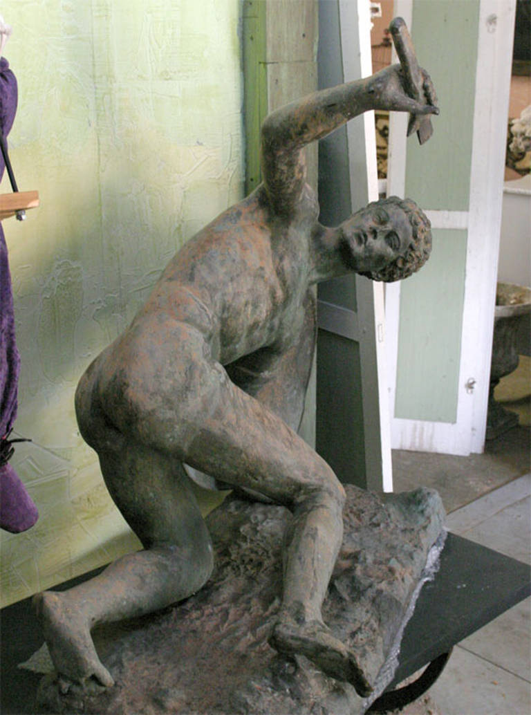 Large Classical Roman Male Nude Warrior Bronze Sculpture In Good Condition For Sale In Great Barrington, MA