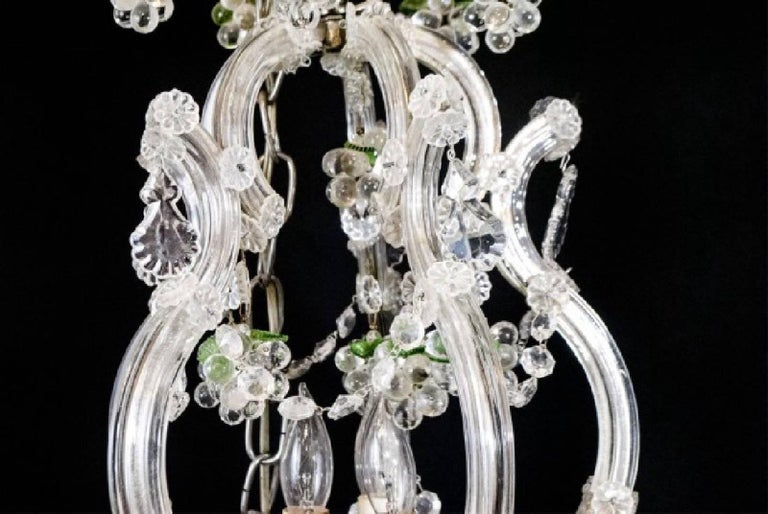 French Small Vintage Crystal and Grape Cluster Motif Chandelier For Sale