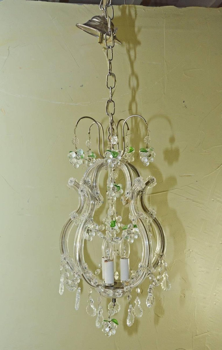 20th Century Small Vintage Crystal and Grape Cluster Motif Chandelier For Sale