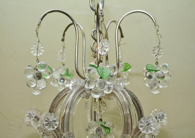 Small Vintage Crystal and Grape Cluster Motif Chandelier For Sale 1