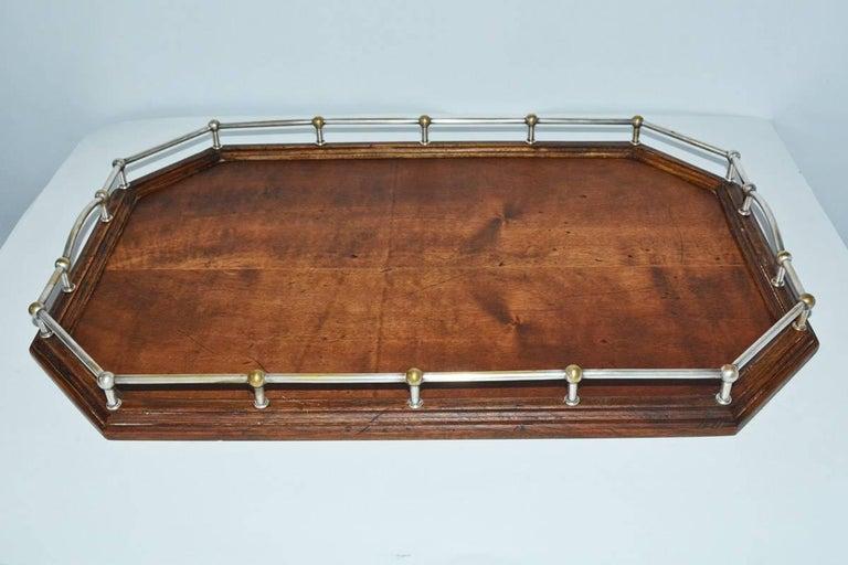 Regency Vintage Wood Gallery Serving Tray For Sale