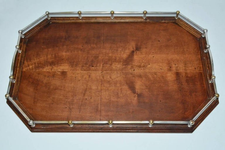 British Vintage Wood Gallery Serving Tray For Sale