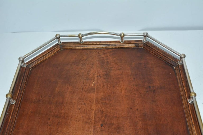 Vintage Wood Gallery Serving Tray In Good Condition For Sale In Great Barrington, MA