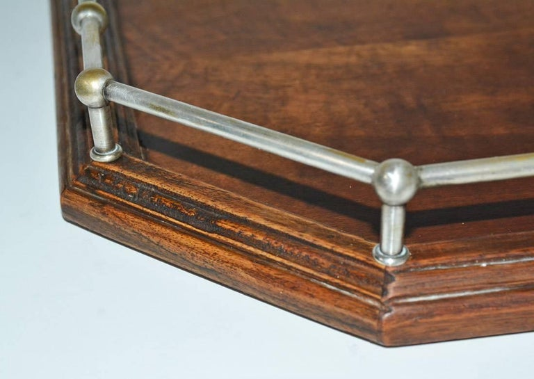 20th Century Vintage Wood Gallery Serving Tray For Sale