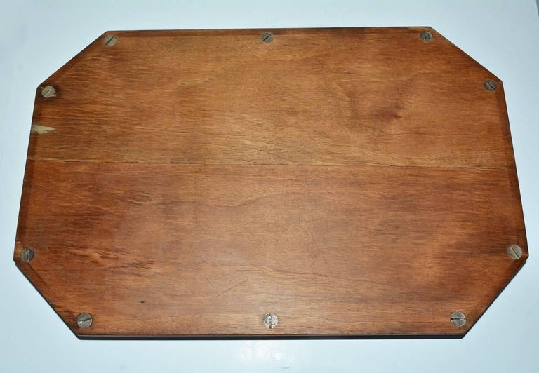 Vintage Wood Gallery Serving Tray For Sale 1