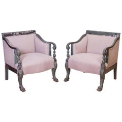 Pair of Empire Revival Style Painted Armchairs