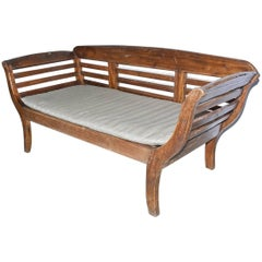 Antique Teak Settee with Slatted Back, Arms and Cushion