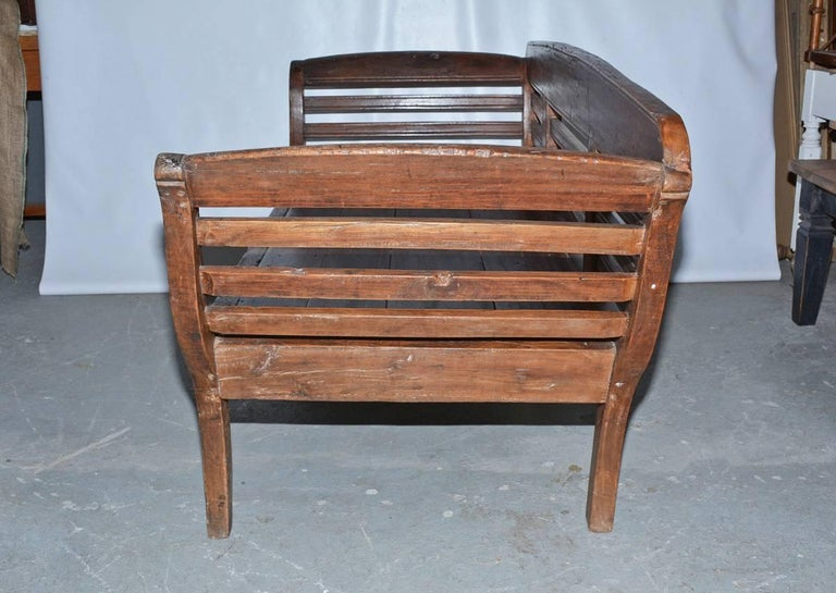 Central American Antique Teak Settee with Slatted Back, Arms and Cushion For Sale