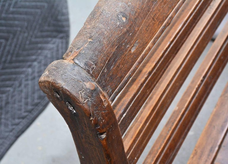 Antique Teak Settee with Slatted Back, Arms and Cushion For Sale 2