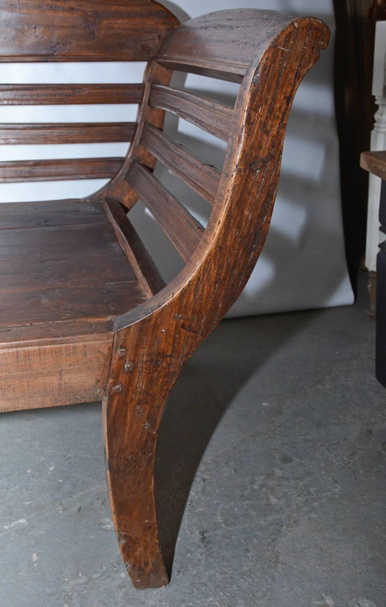 Antique Teak Settee with Slatted Back, Arms and Cushion For Sale 3