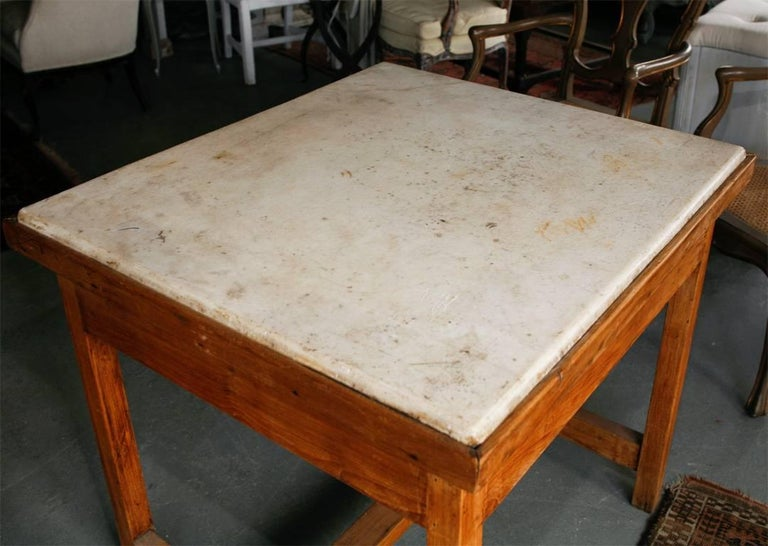 Country French Marble-Top Baker's Work Table For Sale