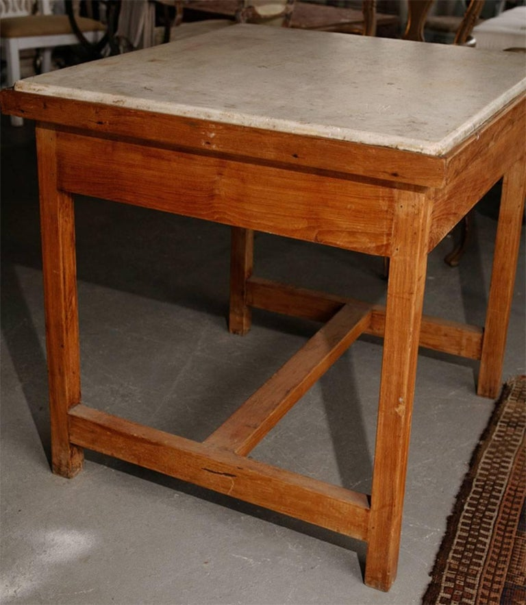 French Marble-Top Baker's Work Table In Good Condition For Sale In Great Barrington, MA