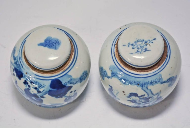 Chinese 19th Century Blue and White Ginger Jar with Figurative Motif, Pair For Sale