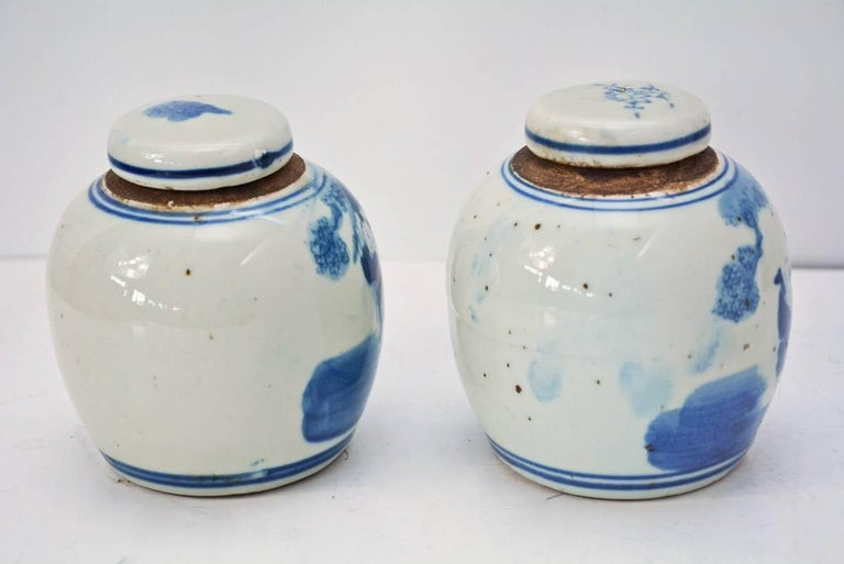 19th Century Blue and White Ginger Jar with Figurative Motif, Pair In Good Condition For Sale In Great Barrington, MA