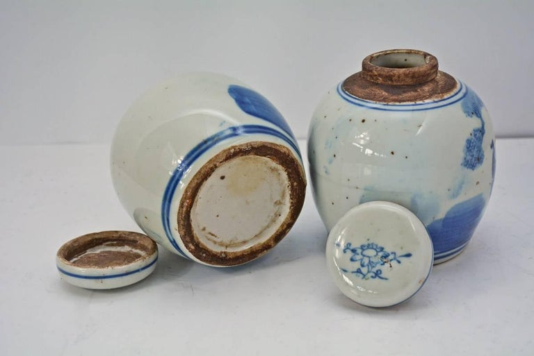 Pottery 19th Century Blue and White Ginger Jar with Figurative Motif, Pair For Sale