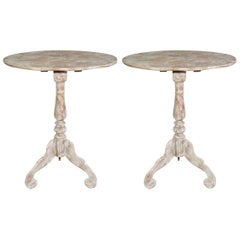 Pair of Oval Swedish Style Pedestal Tables