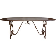 French Inspired Metal Base Oval Dining Table