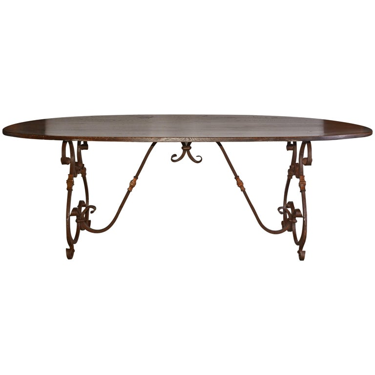 French Inspired Metal Base Oval Dining Table For Sale