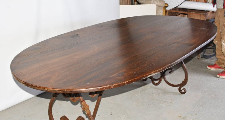 Louis XV French Inspired Metal Base Oval Dining Table For Sale