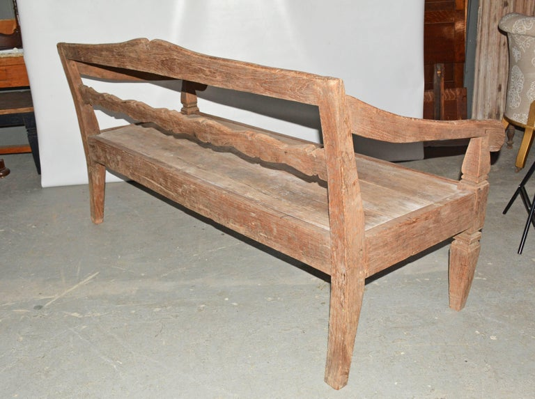 Rustic Antique Asian Teak Daybed Bench For Sale