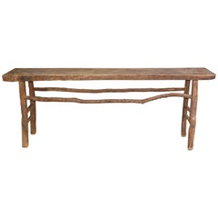 Rustic Organic Asian Teak Wood Console Table