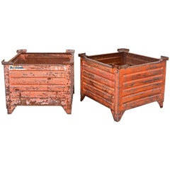 Pair of Vintage Painted Steel Container Planters