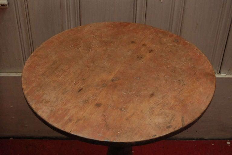 Indonesian Petite Round Teak Pedestal Wine Table For Sale