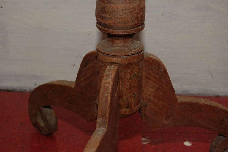 Mid-20th Century Petite Round Teak Pedestal Wine Table For Sale