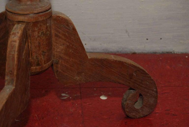 Petite Round Teak Pedestal Wine Table For Sale 1
