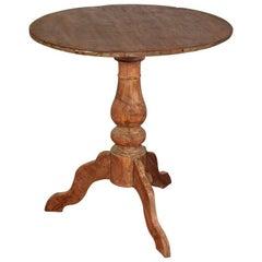 Antique Round Teak Pedestal Side Table